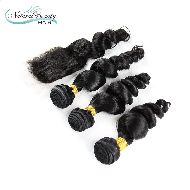 6A Peruvian Loose Wave 3pcs with Closure Peruvian Loose Wave virgin human hair free shipping peruvian human hair<br>