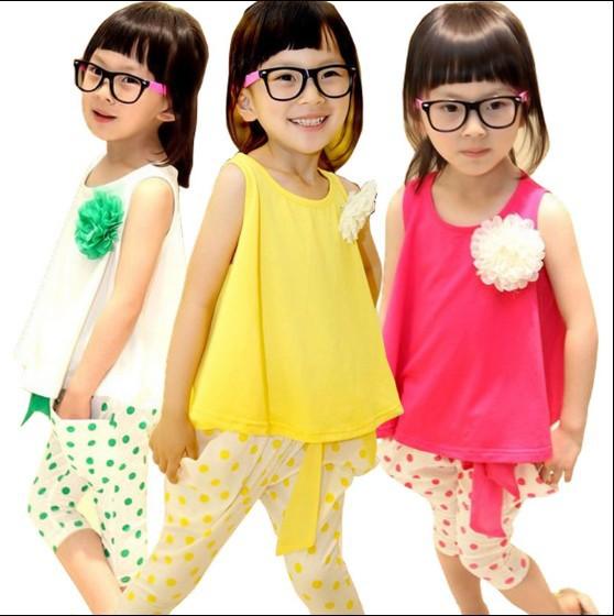 Girls Clothing Sets Summer Korean Sport Suits Kids Flower Vest T shirt + Dot Pants Children Casual 3 Colour TR109 - Baby Kid Monopoly Shop store