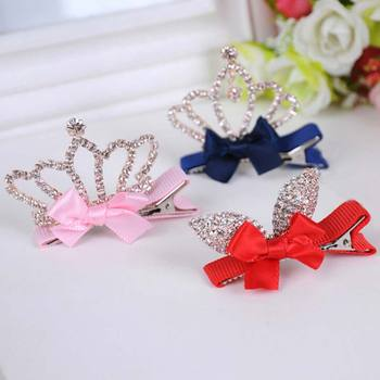 1 PC Cute Style Baby Girls Children Shiny Crown Rhinestone Princess Hairpins Rabbit Ears Crystal Hair Clip Hair Accessories