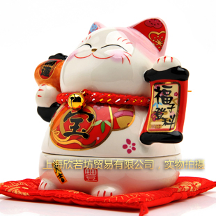 2013MAY #0022 home office shop open decoration ceramic money draw academic protection lucky cat candy sugar sweets storage box(China (Mainland))