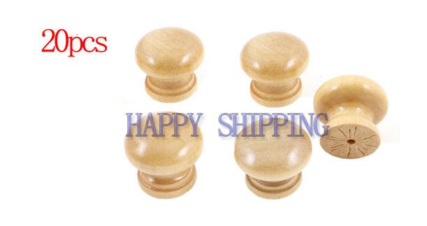 20 Pcs Cabinet Drawer 2.5cm Diameter Round Wooden Pull Knobs Handles(China (Mainland))