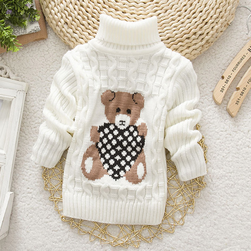 Hot Sale baby girl clothes autumn/winter cartoon Children Sweaters Kids Knitted Pullovers Turtleneck Warm Outerwear Boy Sweaters(China (Mainland))