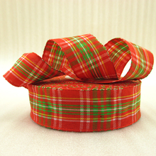 10Y42282 1″(25mm) red plaid scotish ribbon printed polyester ribbon 10 yards, DIY handmade materials, wedding gift wrap
