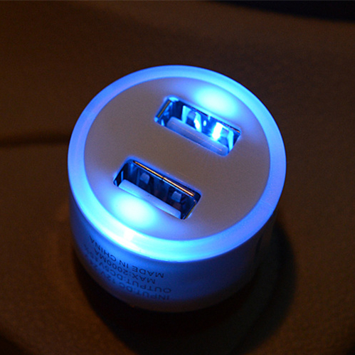 [ Special Offer ] New Double USB Car Charger LED Light USB Adapter For iPhone 6 6Plus 5 4S iPad Mobile Phone(China (Mainland))