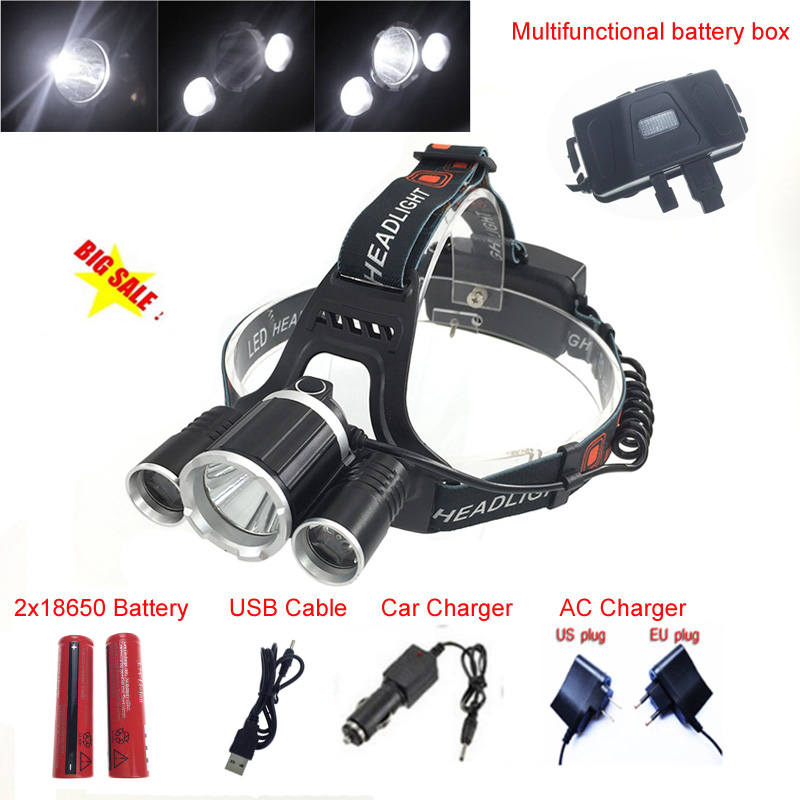 Headlamp LED Headlight 18650 T6 8000 Lumens 3Led USB Power bank Rechargeable Hunting Head Light Charger - Eco-LEDlite Limited store