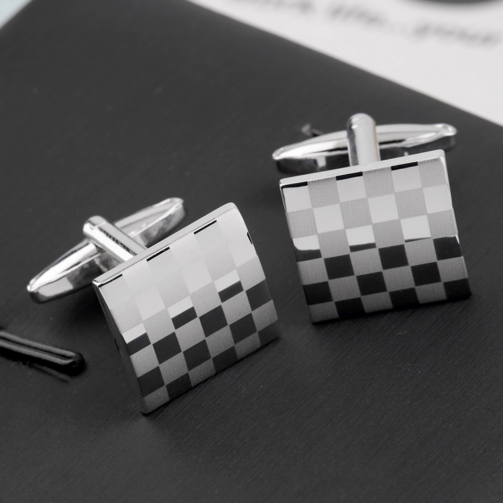 1 Pair Classical Square Vintage Men's Wedding Gift Grid Laser Cuff Links 2016 Hot Sale Fashion jewelry(China (Mainland))
