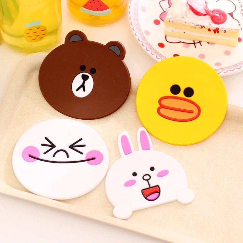Household ceramic tableware creative cartoon silicone insulation pad office drinking cup ceramic insulation pads(China (Mainland))