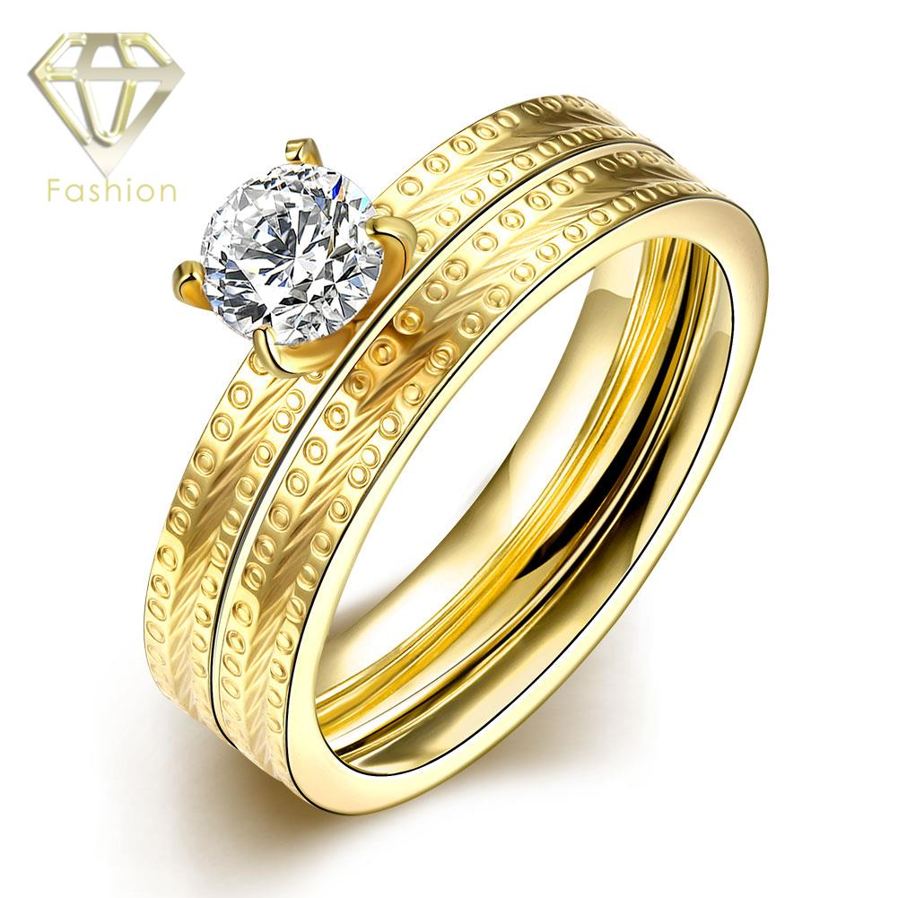 Overstock Engagement Rings Classic 18K Gold Plated 316L Titanium Steel AAA+ Zircon Double Wedding Ring Romantic Lovers' Jewelry(China (Mainland))