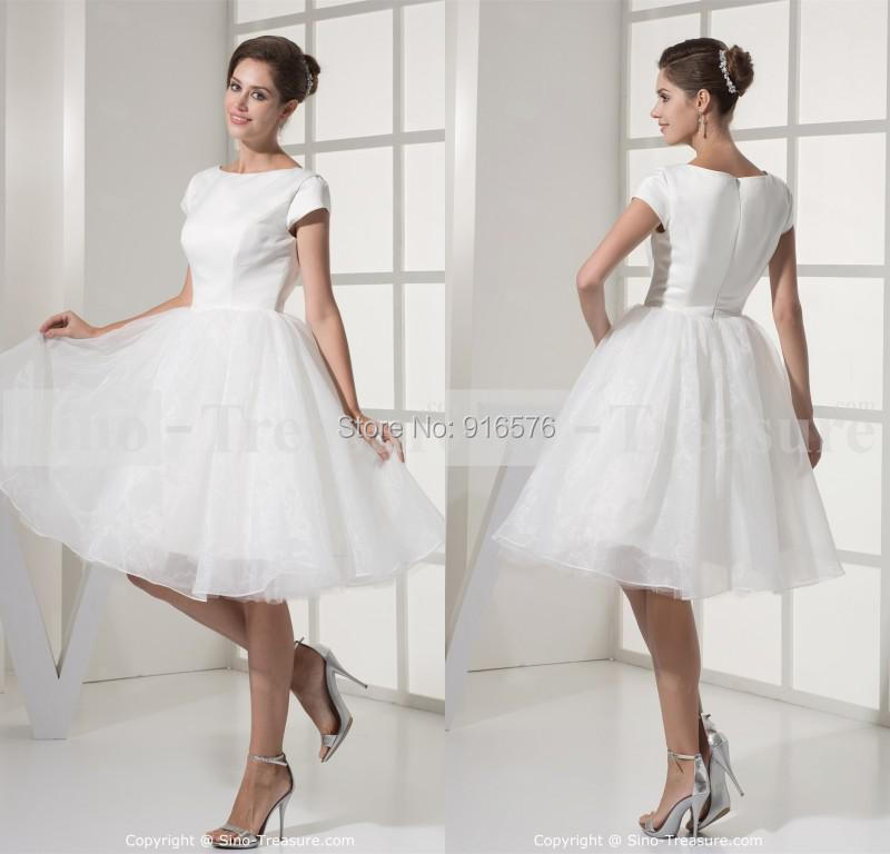 2015 Cheap Beach Wedding Dress With Sleeves A Line Short