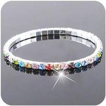 Fashion colorful rhinestone crystal Bracelets & Bangles.Silver Plated bling Wristband Elastic bracelet for women wedding jewelry(China (Mainland))