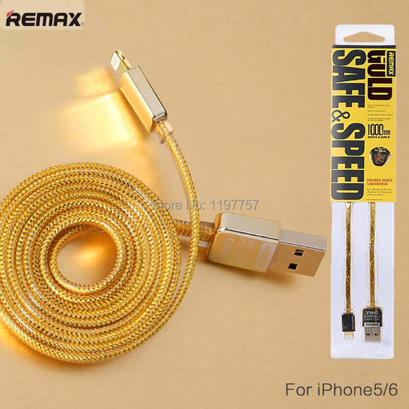 Gold Color USB Cable iPhone 5 5s 5c 6 6s Plus SE 7 iPad mini air Pro iPod Touch Mobile Phone 100cm Original Remax - Shenzhen Yiteng Distributor Store store