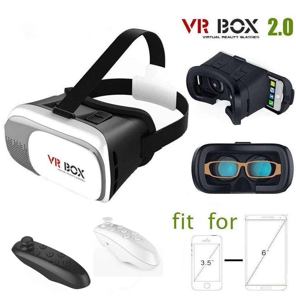 3D Virtual Reality VR Box II 2.0 Glasses Headset Helmet for 3.5~6 Inch Android Phone Samsung Galaxy S7 Edge + Bluetooth Remote(China (Mainland))