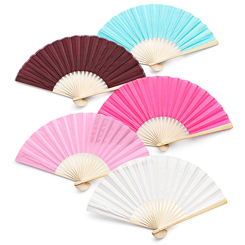50Pcs Free Shipping Wholesale Personalized Logo On Bamboo Silk Folding Hand Fan Customized