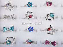 Wholesale Lot 5Pcs Silver Plated Assorted Design Crystal Ring Cute Kid Child Party Small Adjustable Rings