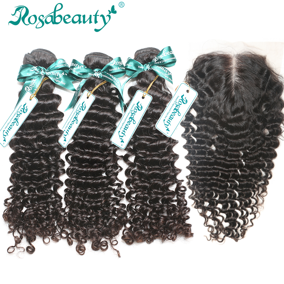 3 Bundles Brazilian Virgin Hair With Lace Closure Total 4P/Lot Brazilian Hair Weave bundles Human Hair With Closure