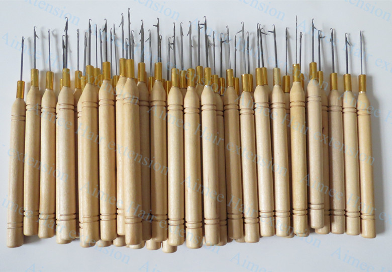 Free shipping 50pcs/Lot ,Wooden Handle Pulling Hook Needle Hair Extensions,Hair Extension Tools(China (Mainland))