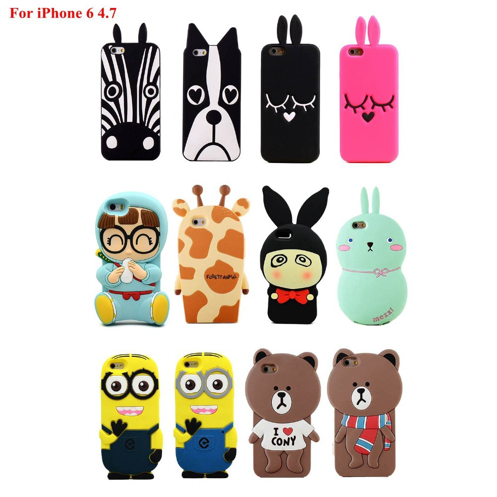 Cute 3D Cartoon Cover Silicone gel Rubber Flexible Phone Case Bag for Apple iphone 6 4.7 inch Protective Skin Pouch(China (Mainland))