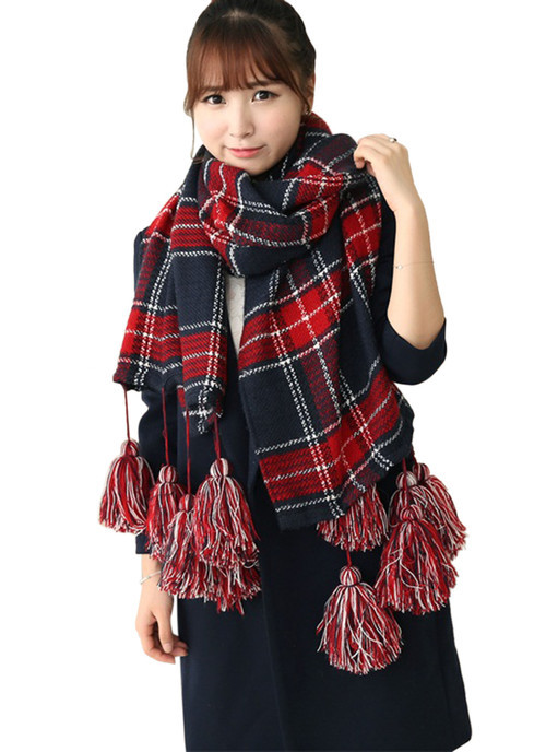 Brand Women Large Imitation Cashmere Tartan Scarf Tassel Wrap Shawl Neck Stole Warm Plaid Scarves - Shenzhen Sundah Tech Co., Ltd.(Craft & Gift Dept. store)