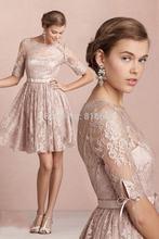 2015 New Elegant Short Lace Cocktail Dresses With Scoop Neck Backless Lace Appliques Sashes Party Dresses Vestido De Festa QA334(China (Mainland))