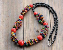 Tibetan style mixed color shell, red coral and black ceramic beads long sweater necklace oriental ethnic exotic(China (Mainland))