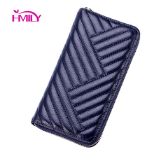 HMILY Genuine Leather Women Long Purse Trendy Wave Pattern Ladies Wallet Four Candy Clour Money Bag Leisure Clutch Bag(China (Mainland))