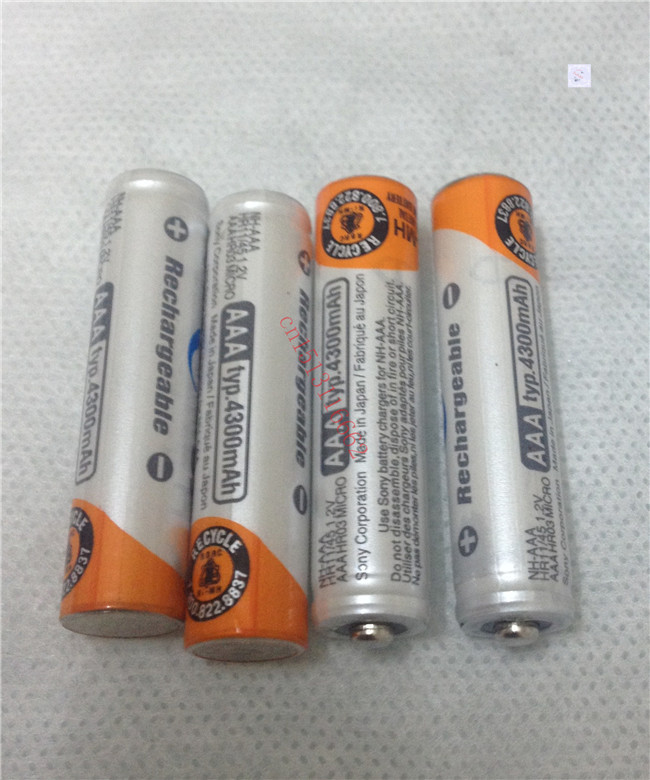 4Pcs/Lot Original Brand New NI-MH AAA 3A Rechargeable Batteries 1.2V 4300mAh NI-MH For Sony Rechargeable Battery Free Shipping(China (Mainland))