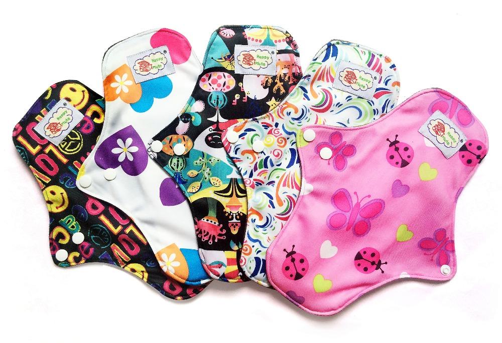 "5pcs/Lot  11"" Heavy Flow Bamboo charcoal Cloth Menstrual Pad Female Sanitary Pad, Breathable Reusable Washable Sanitary Napkin(China (Mainland))"