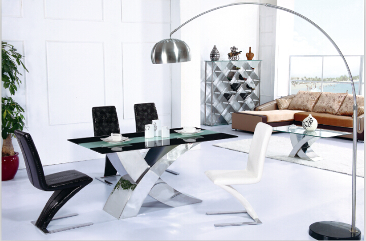 Modern stainless steel dining table dining table set with tempered glass 4  chairsPopular Rectangle Dining Room Tables Buy Cheap Rectangle Dining  . Dining Tables Compare Prices. Home Design Ideas