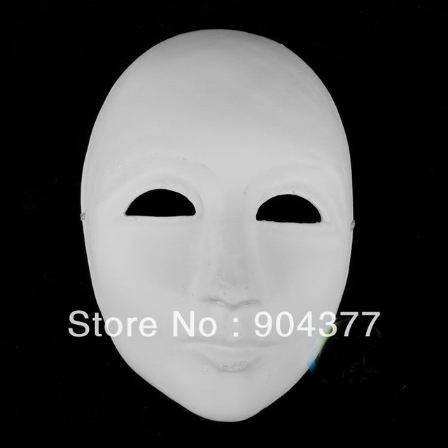 Thicken Unpainted Paper Mache Masks  Full Face to Decorate ,  DIY White Masks 10pcs/lot mix Free Shipping