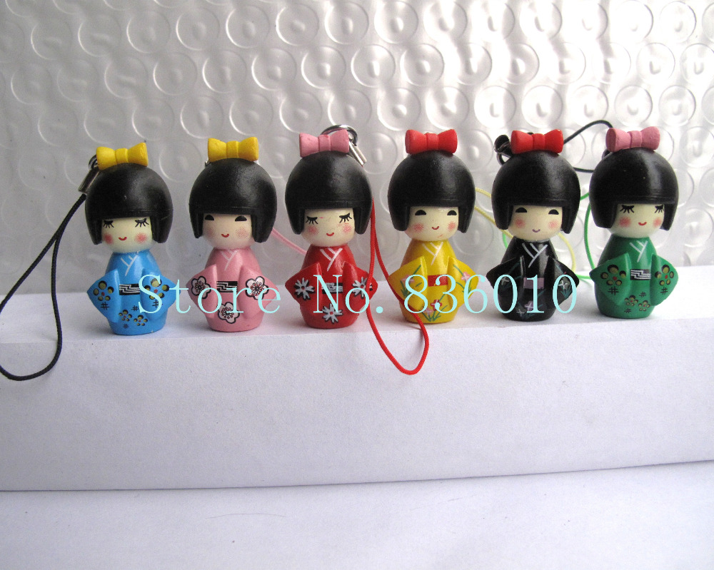 New lot of 6 pcs Japanese kokeshi doll mobile phone strap Charm Childre's W5(China (Mainland))