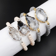 Buy BOROSA 5Pcs/lot Silver Gold Color Mix Onyx Crystal Druzy Slice & 6mm Mix Color Beads Bracelets G1019 for $27.76 in AliExpress store
