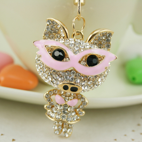 Lovely Rhinestone Keychain Eyes Pig Key chains Ring Fashion Crystal Animal Metal Keyring Gift Purse Handbag Pendant PWK0345(China (Mainland))