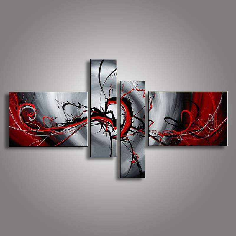 oil paintings on canvas red black white home decoration Modern abstract Oil Painting wall XD4-019(China (Mainland))