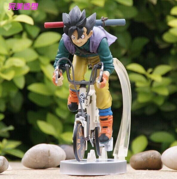 Free Shipping Anime Dragon Ball Z Goku Riding Bicycle Desktop Real McCOY Series 2 Action Figure PVC Model Toys 15cm(China (Mainland))