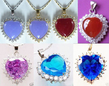 DD 11.23 7 color-charm purple/red/pink/blue heart jade/zirconia 18KGP pendant fast chain can choose Discount 35%(China (Mainland))