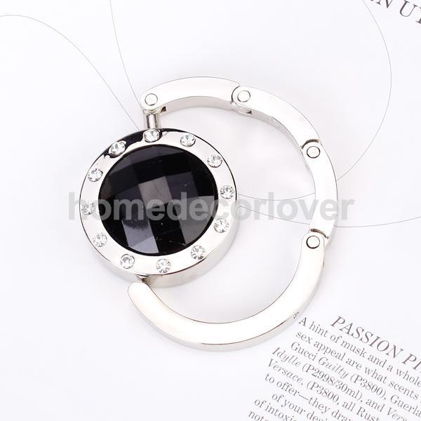 Round Folding Purse Handbag Hanger Table Rhinestone Hook Holder Gift - Black(China (Mainland))