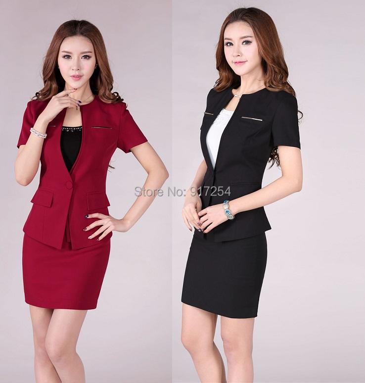 New Fashion Red 2015 Summer Professional Business Women Work Wear Career Skirt Suits Formal Uniform Sets Plus Size XXXLОдежда и ак�е��уары<br><br><br>Aliexpress