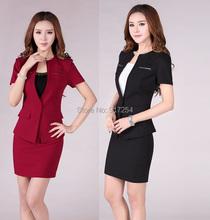 New Fashion Red 2015 Summer Professional Business Women Work Wear Career Skirt Suits Formal Uniform Sets Plus Size XXXL