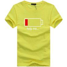 電池ファッション人格シャツ男性の Tシャツおかしいデザインの綿の夏半袖ブランド服ホット販売メンズトップス tシャツ(China)