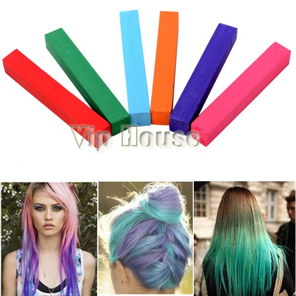Non-toxic Temporary Salon 6 Colors Chalk Pastel Stick Vermicelli Chalk Color Powder Brush Hair Chalk 24(China (Mainland))