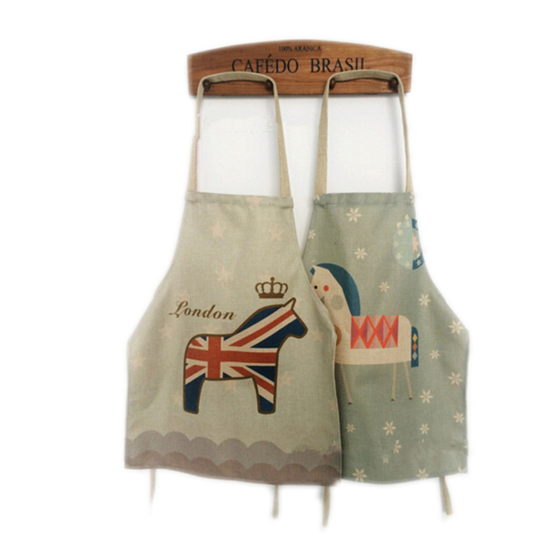 London Horse 60x70 Funny Aprons Delantal Cocina Retro Cute Korean Denim Vintage Apron Kitchen For Woman Avental De Chef Cozinha(China (Mainland))