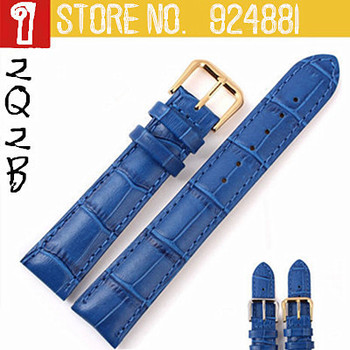 12mm 14mm 16mm 18mm 20mm NEW Blue Watchband for Women Genuine Leather Cowhide Watch Straps Silver & Golden Clasp Free Shippin