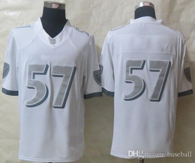Hot Sale #57 Platinum White Limited American Football Jerseys Stitched Authentic Football Uniforms Cheap Sportswear(China (Mainland))