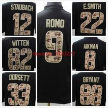 Troy Aikman 12 Roger Staubach 9 Tony Romo Emmitt Smith Tony Dorsett Jason Witten 88 Dez Bryant Black Salute TO Service Jersey(China (Mainland))