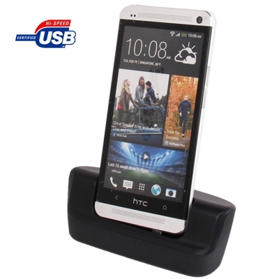 Desktop Charging Cradle with Micro USB Sync Data Function for HTC One / M7 (Black)
