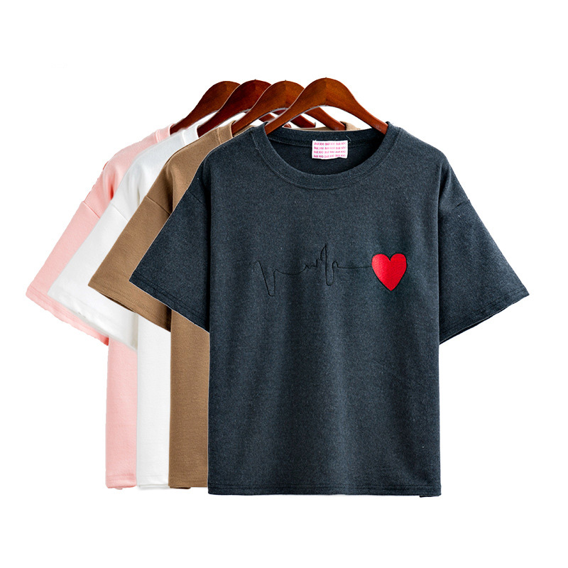 New Korean Style Spring Cashmere & Catton One Size Heart Print Cute Fashion Four Colors Child T-Shirt Short Sleeve Shirts 51346(China (Mainland))