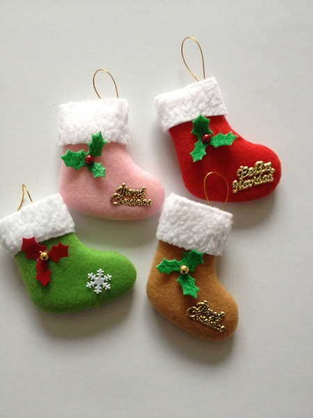 Factory direct sale2014 Latest Santa Christmas tree ornaments cheap decoration stockings christmas items gifts(China (Mainland))