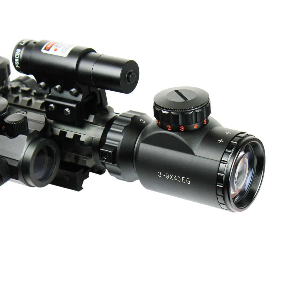 Hot Sale 3-9X40EG Illuminated Hunting Red/Green Laser Riflescope with Holographic Dot Sight Combo Airsoft Gun Weapon Sight(China (Mainland))