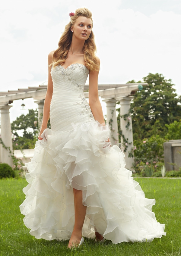 Cheap sweetheart beading organza beautiful vestidos modern for Cheap and beautiful wedding dresses