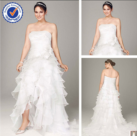 Wd1565 off the shoulder plus size front short and long for Plus size off the shoulder wedding dress